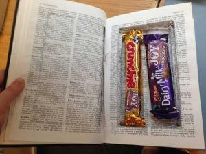 Choc bars in book