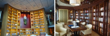 Celebrity Silhouette Library (left) Royal Princess Library (right)